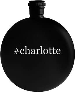 #charlotte - 5oz Hashtag Round Alcohol Drinking Flask, Black