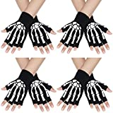 SATINIOR 4 Paar Halloween Skelett Halbfinger Handschuhe Unisex-Schädel Fingerlose Stretch Strickhandschuhe Winterhand Warme Handschuhe (Stil 1) -