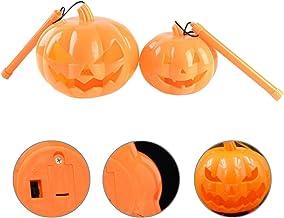KESYOO 2pcs Halloween Orange Pumpkin Lantern Plastic Jack-O-Lantern Pumpkin Lights Halloween Decoration Ornament (Orange)