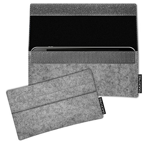 SIMON PIKE Hülle Tasche kompatibel mit Samsung Galaxy S8 Active | Filztasche Newyork in 1 grau aus Filz (echtem Wollfilz) Handyhülle