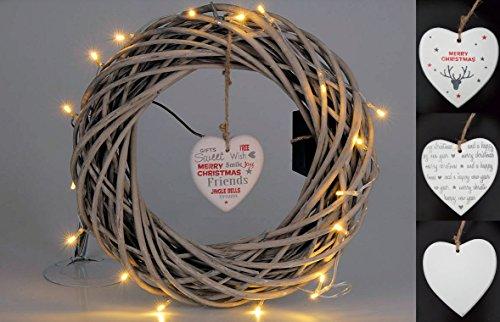 Spetebo Deko Kranz mit 20 LED - Rattan Adventskranz 35 cm - Weihnachtskranz Türkranz Weidenkranz Holzkranz