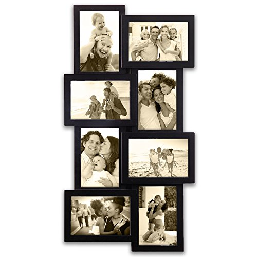 "Hello Laura - Photo Frame Vertical Fall Picture Frame Gallery Collage Wall Hanging Frame Set 12 by 23"" inch for 4 x 6 inch Photo 8 Sockets Black Edge Gift Decor Dining Features Frames Kitchen Tabletop Wall"
