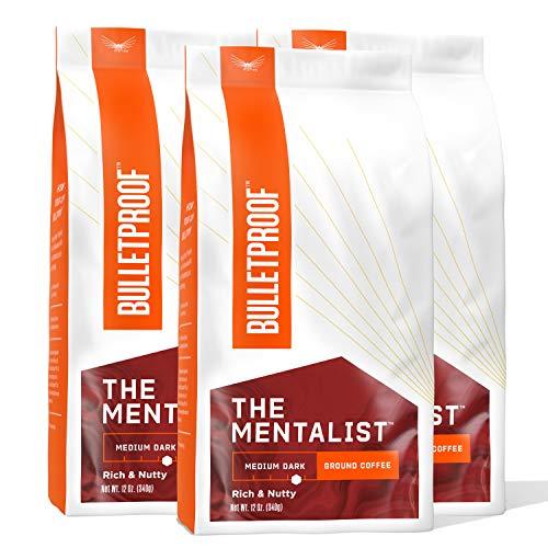 The Mentalist Ground Coffee, Medium Dark Roast, 3 Pack - 12 Oz, Bulletproof Keto 100% Arabica Coffee, Certified Clean Coffee, Rainforest Alliance, Sourced from Guatemala, Colombia & El Salvador