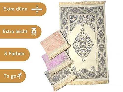 Imanpaper - Muslimische Gebetsteppich Extra dünn in blau beige | Namaz-lik Seccade, Gebets Matte | Salah Sejadah, islamic prayer mat rug, für das Gebet im Islam - perfekt als Geschenk Idee 1,20x0,68m