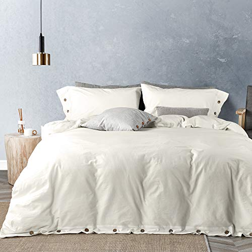 JELLYMONI White 100% Washed Cotton Duvet Cover Set, 3 Pieces Luxury Soft Bedding Set with Buttons Closure. Solid Color Pattern Duvet Cover Queen Size(No Comforter)