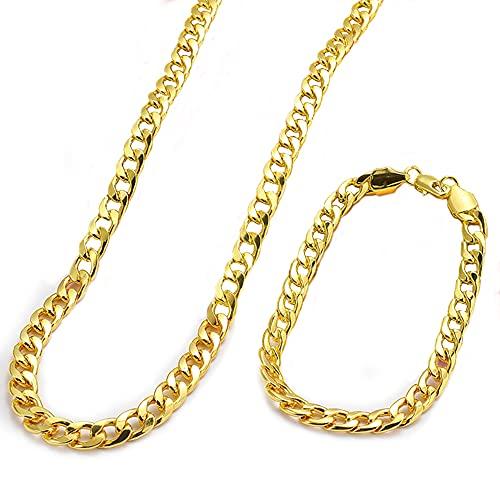 ZoneYan Cadena Hombre Oro, Collar Oro Hombre Cubano, Cadena Cubana Gruesa, Collar de Gargantilla De Hombre, Collar Hombre con Pulsera,...