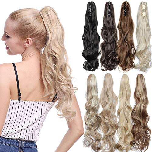 """Ponytail Claw Clip Hair Extension Heat Resistant Synthetic Hair Fiber 160gr 22"""" 55cm Wavy Claw Clip in/on Ponytail Extensions"""
