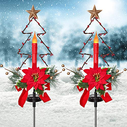 YQing 2 Pack Outdoor Solar Christmas Light Decorations, LED Candle Christmas Lights with Artificial Poinsettia Gold Berry and Pine Needles Decorative Garden Stake