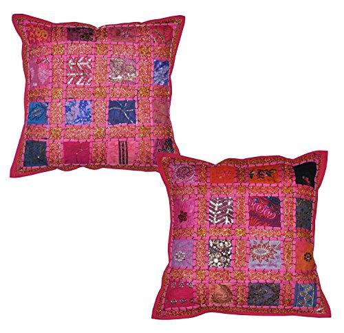 Fundas para cojín de algodón con bordados y tela de retales (patchwork), diseño de estilo hindú vintage, 2 unidades, 41 x 41 cm