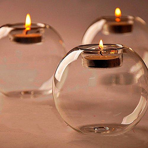 Kicode 1個 クリエイティブテーブル ガラス球キャンドルホルダー 透明な花瓶 ウェディングホーム マイクロレンタルシャフトの装飾