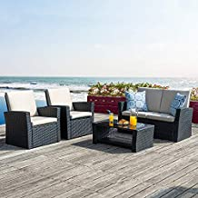 Walsunny Quality Outdoor Living,4 Piece Conversation Set Wicker Ratten Sectional Sofa with Seat Cushions,Outdoor Patio Furniture Sets,,(Black)