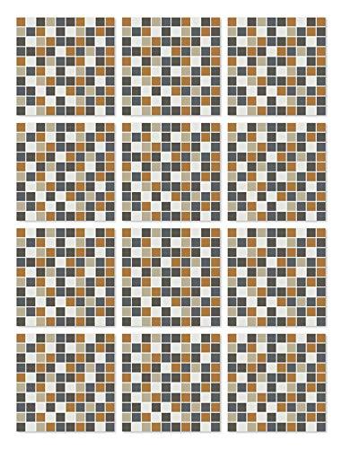Panorama Azulejos Adhesivos Cocina Baño Pack de 72 Baldosas de 10x10cm Cuadrados Naranja - Vinilos Cocina Azulejos - Revestimiento de Paredes - Cenefas Azulejos Adhesivas