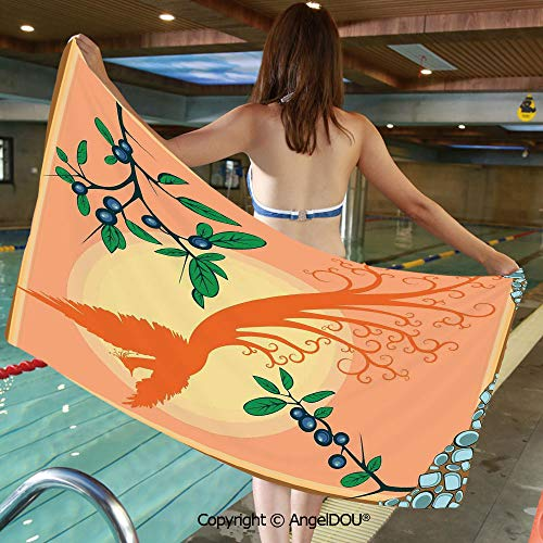 AngelDOU Extra Absorbent Fast Drying Soft Swimming Beach TowelsMagical Photo of Mediterranean Rural in The Valley with a Small Lake Europe Nature for Bath Travel Sports Swimming.W27.5xL55(inch)