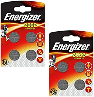 8 x Energizer CR2032 Coin Battery Batteries Lithium 3V for Watches Torches Keys