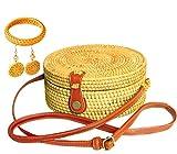 Handwoven Round Rattan Bag for Women Shoulder Straw Bag Beach Purse Handmade Circle Wicker Bali Handbag Natural Chic Woven Crossbody Boho Rattan with Gift Box FREE Rattan Earing & Bracelet