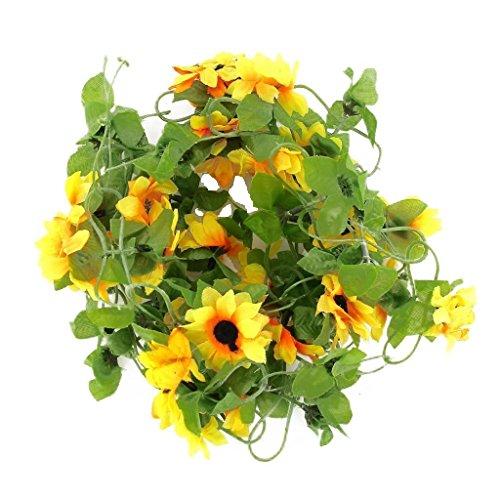 SODIAL (R) Girasole artificiale ghirlanda di fiori di vite per decorazione matrimonio casa giardino