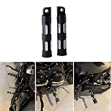 Goldfire 1 Pair Motorcycle Foot Pegs CNC Cut Front & Rear Foot Pegs Foot Rests Compatibility For Harley (Black)