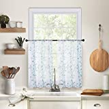 MRTREES Sheer Curtains Embroidered Tier Curtains 30 x 36 inch Length Tiers Living Room Bedroom Panels Leaves Embroidery Window Treatment Pole Pocket Drapes 2 Panels Aqua Blue Leaves
