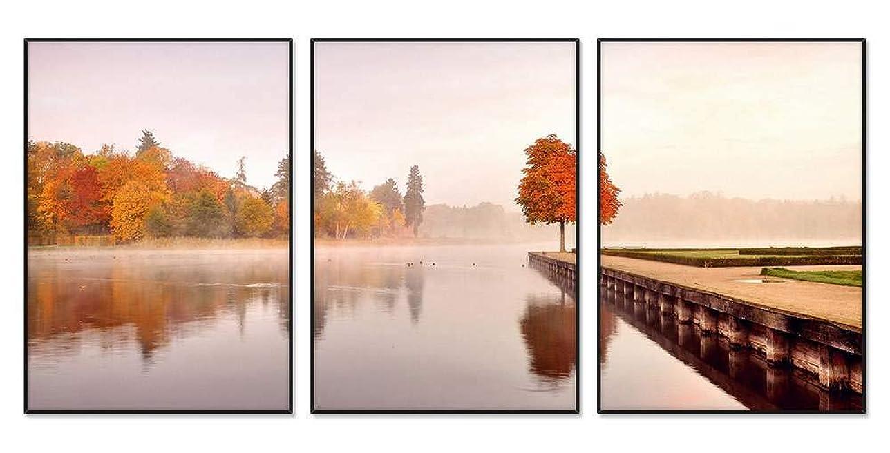 ユニークなハイジャック消化秋の自然の風景、木々、オレンジ、水、朝、霧 風景の写真 アルミ合金アートフレーム 額縁 壁掛け ホーム装飾画 装飾的な絵画 壁の装飾 ポスター 三連画(35x50cmx3枚 ブラックフレーム)