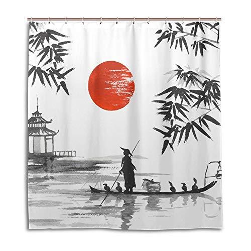 Vorhang Polyester-Gewebe-Duschvorhang-Malerei-Mann mit Boots-Muster-Druck-Badezimmer-dekorativen Duschbad-Vorhängen Duschvorhänge (Color : White, Size : 120 * 180cm)