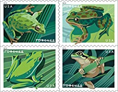 This listing is for the Frogs Pane of 20 Forever postage stamps Digital illustrations of four North American frogs grace these new stamps: the Pacific tree frog, the northern leopard frog, the American green tree frog, and the squirrel tree frog. Wor...
