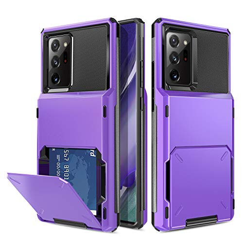 Elegant Choise Galaxy Note 20 Ultra Case, Wallet Case Card Holder Shell (Up to 4 Cards) with Card Slot Holder Hybrid Dual Layer Rugged Protective Hard Shell Case Cover for Note 20 Ultra (Purple)