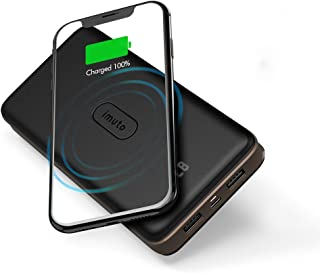 Wireless Portable Charger, imuto Power Bank 20000mAh External Battery Pack with LED Digital Display, 3 USB Outputs Fast Ch...
