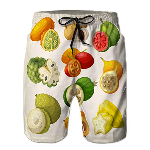 Yuerb Funny Beach Board Shorts for Men Casual Pants Exotic Tropical Fruit
