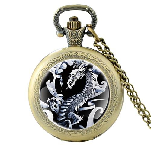 Reloj de bolsillo clásico de cuarzo japonés con diseño de dragón vintage para hombres y mujeres