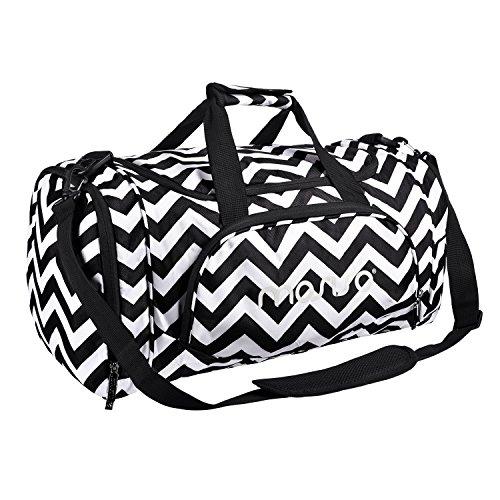 MOSISO Sport Gym Tasche Reisetasche mit Vielen Fächern, Wasserdicht Sporttasche Seesack für Tanzen, Fitness, Sport und Reise mit Schuh Abteil, Chevron Schwarz
