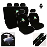 12 Piece Auto Interior Gift Set - 2 Frog Design Front Universal Size Low Back Bucket Seat Covers (in 4 pieces), 2 Head Rest Covers, 1 Frog Logo Rear Seat Cover (in 2 pieces), 1 Steering Wheel Cover, 2 Shoulder Harness Pressure Relief Cover and a 2 oz Purple Slice Car Wash Free Detailer/Multipurpose Cleaner