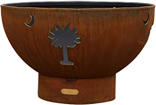 Fire Pit Arts Outdoor Propane Fire Pit - Tropical Moon - Gas Fire Pit Steel Bowl Includes Brass Burner Lava Rock Flex Line Kit and Plate