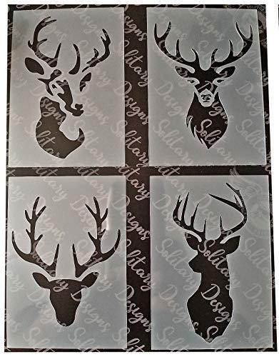 Schablone im Shabby-Chic-Stil, 3 Stück, A7-Format, 105 x 74 mm, Hirschkopf, Mini-Auswahl, Kunststoff-Blätter