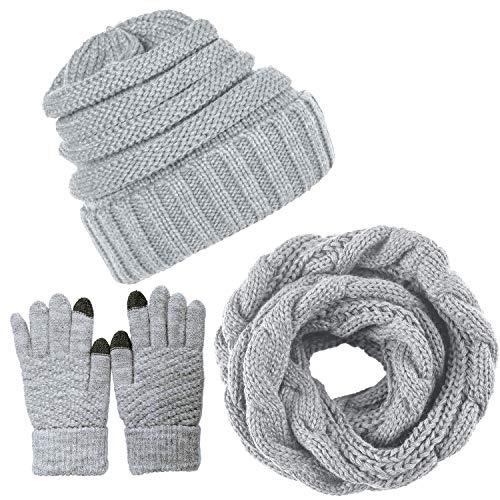 Yutdeng Damen Winter Warm Knit Mütze Hut Schal Handschuhe Set Touchscreen-Handschuhe Strick mit Kreis Loop Schal Fleece Gefüttert für Ski 3-in-1 Mütze Winter-Set(Grau,One size)
