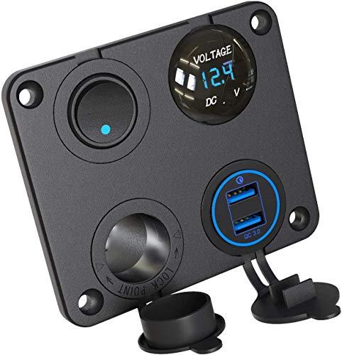 12V Steckdose, KFZ USB Ladegerät Auto QC 3.0 + Zigarettenanzünder Splitter + Voltmeter + Schalter für Motorrad Boot LKW Wohnwagen Marine (Einschließlich 10A Sicherung)