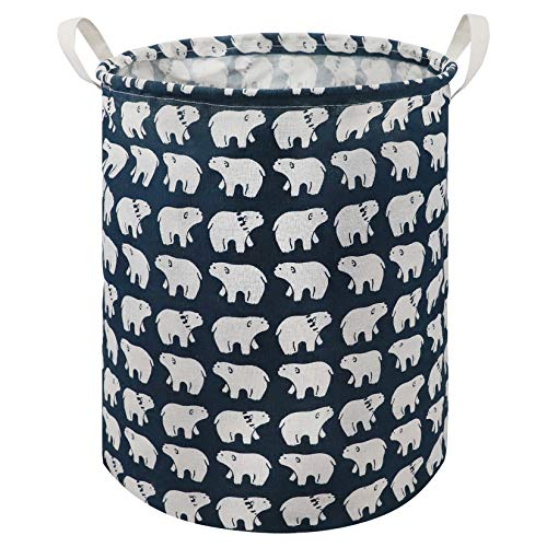 Round Storage Basket Coating Organizer Foldable with Waterproof PE HamperLaundry BinToy Collection Organizer Cartoon for Kids Cute Design Polar bear