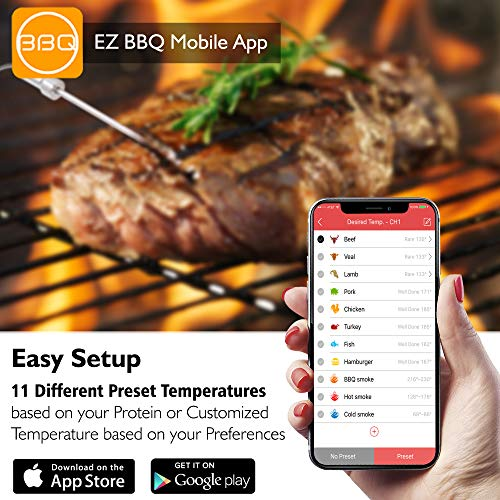 Smart Bluetooth BBQ Grill Thermometer  Upgraded Stainless Dual Probes Safe to Leave in Outdoor...
