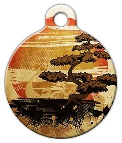 "Bonsai Sunset Custom Personalized for Dog and cat Collars Supplies tkdog-tag-art1 (Large (1.25"" Dia))"
