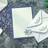 12 sobres y 24 hojas de papel de carta, papel de carta infantil, papel de carta con líneas, 20 hojas con sobre, papel de carta para niños, niñas, niños (D)