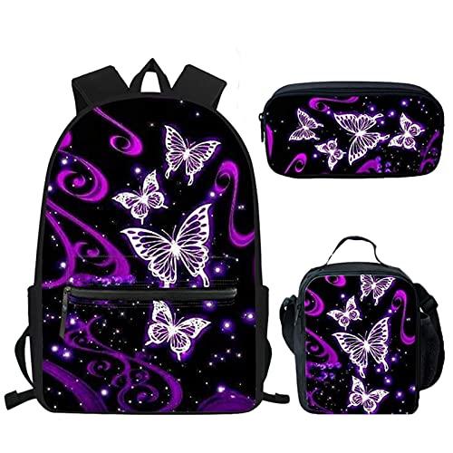 Showudesigns Mochila escolar mariposa para niñas con bolsas de almuerzo y estuche para lápices, mochila para niños, mochila de viaje para estudiantes de secundaria, color morado y negro
