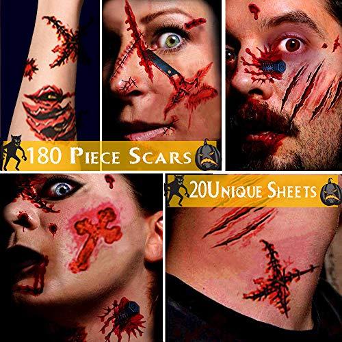 Alintor Halloween Schminke Set - Halloween Narben Tattoo, Halloween Kostüm Damen Tattoo, Wasserdicht Terror Zombie Wunden Tattoo für Kinder Erwachsener Makeup(5 Große + 15 Kleine Stück, 180 Muster)