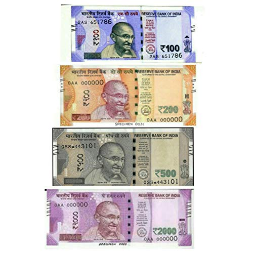E Shopping Dummy Indian Currency Notes 400 Units, Each 100 Notes of 100, 200, 500, 2000 Rupee Notes for Children Playing and School Projects