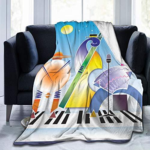 Manta mullida con banda abstracta de formas geométricas, tambores y acordeón que realiza en la superficie del teclado, manta suave para cama de 127 x 101 cm