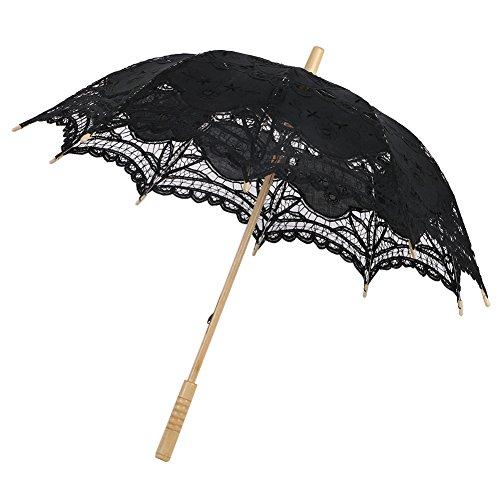 Sombrilla/Paraguas de encaje,estilo victoriano, accesorio o decoración para boda o fiesta-Negro