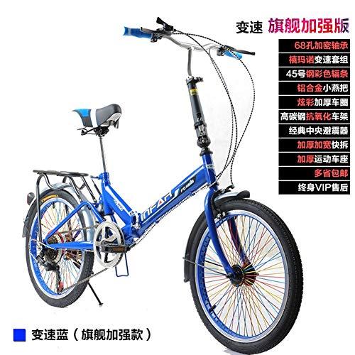 Tragbares 6-Gang-Leichtgewicht 20 Zoll helles Single-Speed-Faltrad Faltbares Fahrrad-Stoßdämpfer für Erwachsene Männer und Frauen Student Young Car Bike