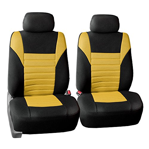 FH Group FB068YELLOW102 Yellow-Half Universal Bucket Seat Cover (Premium 3D Air mesh Design Airbag Compatible)