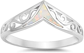 CHOOSE YOUR COLOR Sterling Silver Filigree Chevron Ring