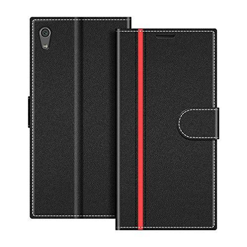COODIO Handyhülle für Sony Xperia XA1 Handy Hülle, Sony Xperia XA1 Hülle Leder Handytasche für Sony Xperia XA1 Klapphülle Tasche, Schwarz/Rot