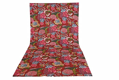 Sophia-Art Twin/King Indian Fruit Wende-Tagesdecke Muster Gudri reine Baumwolle Kantha-Stil Floral Fruit Print dekorative Stich Quilt (Kastanienbraun, California King 108108 Zoll)
