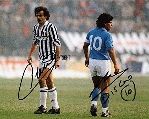 Fotodruck von Diego Maradona Michel Platini, mit vorgedrucktem Autogramm, limitierte Edition